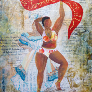 """2 Caribbean women - the traditional post-slavery matron as a ghost tanding behind the voluptuous costumed masquerader waving a red banner saying """"we jammin' still"""""""