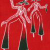 White line drawing of traditional Moko Jumbie mas costumes on a red background with black highlights - Trinidad & Tobago national colours